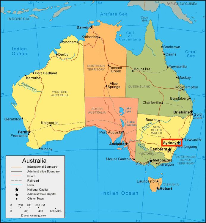 Sydney australia map Sydney map of australia Australia – Map Australia Sydney