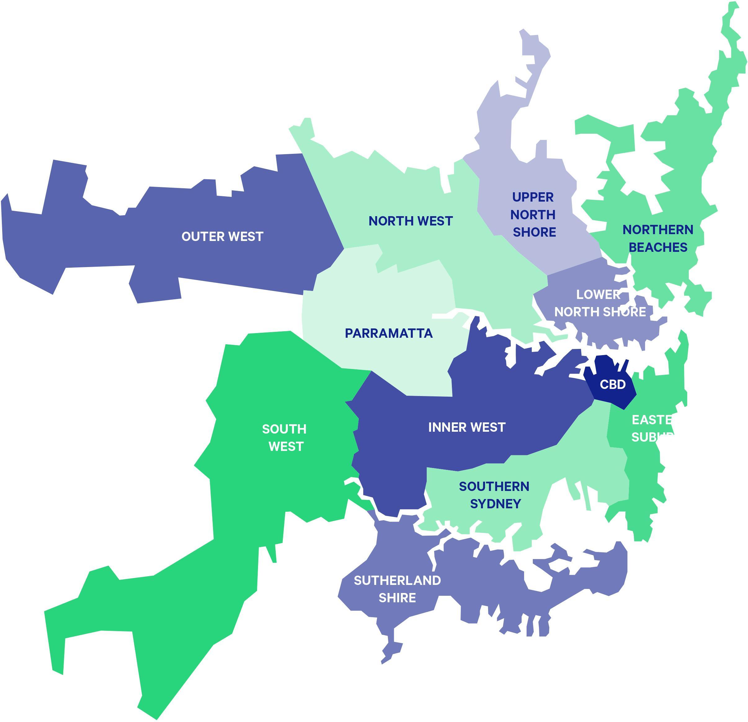 Map Of Australia Sydney.Sydney Suburbs Map Sydney Suburb Map Australia