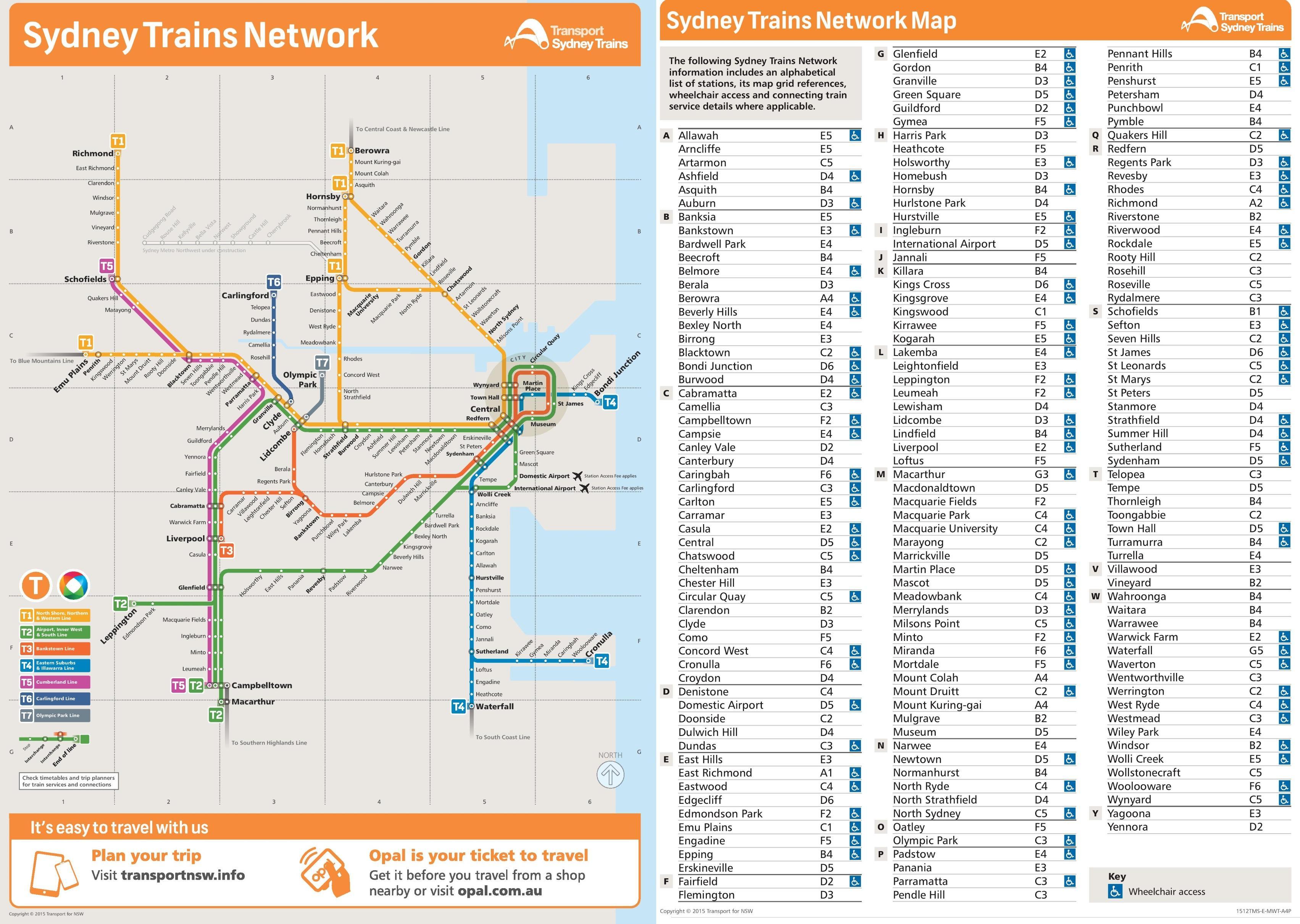 Train map sydney - Sydney train station map (Australia)