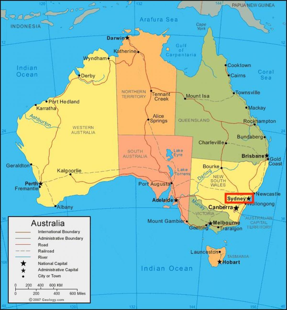 Sydney On Australia Map.Sydney Australia Map Sydney Map Of Australia Australia