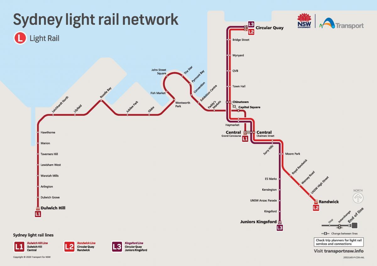 Sydney light rail map Light rail sydney map Australia
