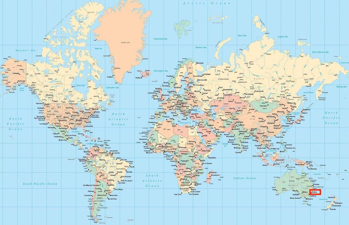 Sydney world map   Sydney on world map (Australia)